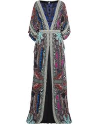Etro - Woman Embellished Printed Silk Crepe De Chine Gown Multicolour - Lyst