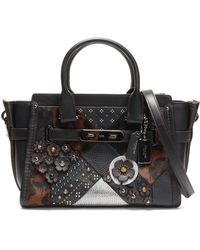 COACH - Embellished Leopard-print Calf Hair, Smooth And Textured-leather Shoulder Bag - Lyst