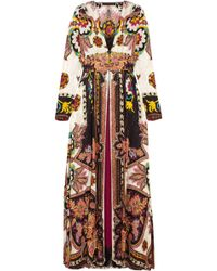 Etro - Lace-trimmed Printed Jacquard Wrap Dress - Lyst
