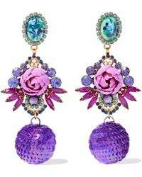 Elizabeth Cole - Woman Gold-tone, Crystal, Stone And Sequin Earrings Purple - Lyst