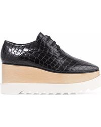 Stella McCartney - Elyse Croc-effect Faux Leather Platform Brogues - Lyst