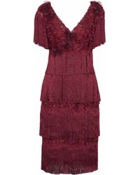 Marchesa notte - Fringed Tiered Appliquéd Embroidered Tulle Dress - Lyst