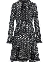 Giambattista Valli - Lace-trimmed Frayed Cotton-blend Bouclé-tweed Mini Dress - Lyst