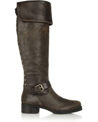 Tory Burch - Tarulli Distressed Leather Knee Boots - Lyst