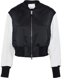 3.1 Phillip Lim - Romantic Cropped Satin-paneled Jacquard Bomber Jacket - Lyst