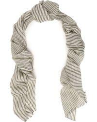 Brunello Cucinelli - Frayed Metallic Striped Cashmere-blend Scarf - Lyst