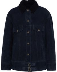 Meteo by Yves Salomon - Woman Shearling-trimmed Suede Jacket Midnight Blue - Lyst