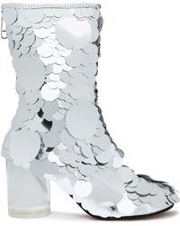 Maison Margiela - Sequined Metallic Leather Ankle Boots - Lyst