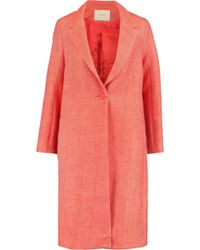 Maje - Manteau Cotton And Linen-blend Twill Coat - Lyst