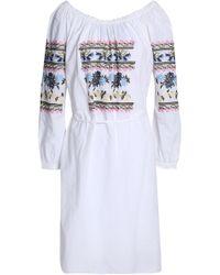 Needle & Thread - Tasseled Ruffle-trimmed Embroidered Cotton-poplin Dress - Lyst