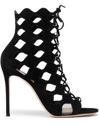 Gianvito Rossi - Lace-up Cutout Suede Sandals - Lyst