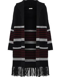 Joie - Gabrina Striped Wool And Yak-blend Hooded Cardigan - Lyst