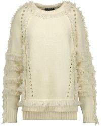 Belstaff - Karli Fringed Wool, Silk And Cashmere-blend Sweater - Lyst