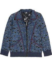 Anna Sui | Jacquard-trimmed Denim-appliquéd Lace Jacket | Lyst