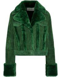 Diane von Furstenberg - Double Collar Shearling Jacket - Lyst