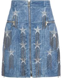 Balmain - Woman Chain-embellished Metallic Embroidered Leather Mini Skirt Light Blue - Lyst