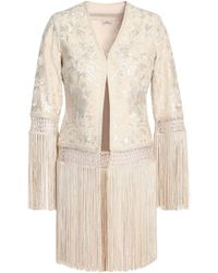 Talitha - Fringed Embroidered Silk Jacket - Lyst