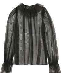 Dolce & Gabbana - Lamé-trimmed Ruffled Tulle And Net Blouse - Lyst