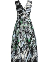 MILLY - Pleated Printed Cotton-blend Cady Midi Dress - Lyst