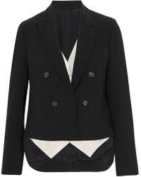 Brunello Cucinelli - Asymmetric Layered Stretch-wool And Satin-twill Blazer - Lyst