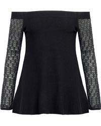 L'Agence - Off-the-shoulder Crochet-paneled Jersey Top - Lyst