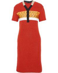 Proenza Schouler - Snakeskin-trimmed Open-knit Dress - Lyst