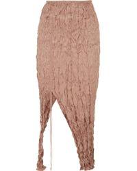 Juan Carlos Obando - Ruched Crinkled Silk-satin Midi Skirt - Lyst
