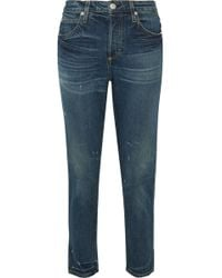 AMO - Ace Cropped High-rise Tapered Jeans - Lyst