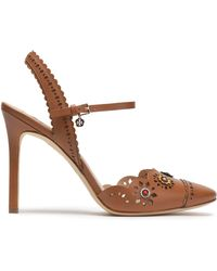 Tory Burch - Floral-appliquéd Scalloped Leather Sandals - Lyst
