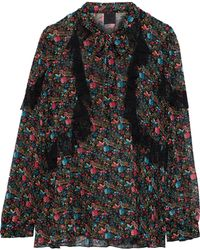 Anna Sui - Ruffled Lace-trimmed Printed Silk-chiffon Blouse - Lyst