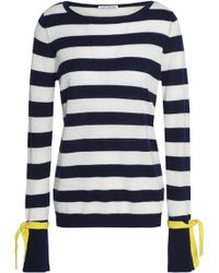 Autumn Cashmere - Woman Striped Cashmere Sweater Navy - Lyst