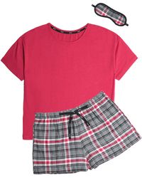 DKNY - Cotton-blend Jersey And Checked Flannel Pyjama Set - Lyst