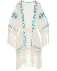 Melissa Odabash - Dana Fringed Embroidered Twill Coverup - Lyst