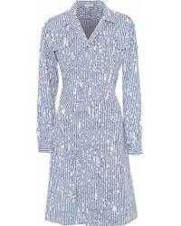 93a96fea35a Tomas Maier - Woman Printed Cotton-blend Poplin Dress Storm Blue - Lyst
