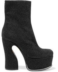 Maison Margiela - Trunk Glittered Coated-leather Platform Ankle Boots - Lyst