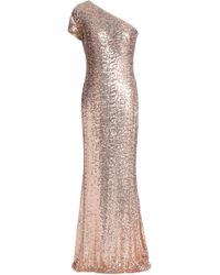 Badgley Mischka - Woman One-shoulder Sequined Tulle Gown Rose Gold - Lyst