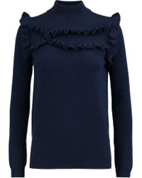 Madeleine Thompson - Ithaca Ruffle-trimmed Wool And Cashmere-blend Turtleneck Jumper - Lyst