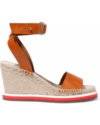 Stella McCartney - Faux Leather Espadrille Wedge Sandals - Lyst
