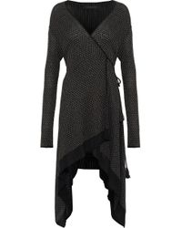 Roland Mouret - Doncaster Asymmetric Metallic Knitted Wrap Cardigan - Lyst