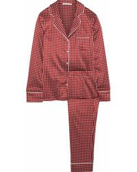 Stella McCartney - Poppy Snoozing Polka-dot Stretch-silk Satin Pajama Set - Lyst