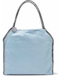Stella McCartney - Falabella Small Faux Brushed-leather Shoulder Bag Light Blue - Lyst