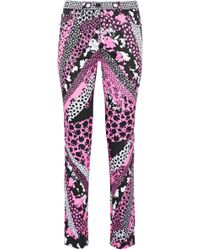 Versace - Printed Cotton-blend Skinny Pants - Lyst