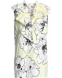 Marni - Ruffle-trimmed Floral-print Cotton-poplin Top - Lyst
