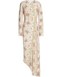 Vilshenko - Asymmetric Printed Silk Crepe De Chine Midi Dress - Lyst