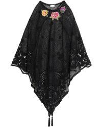 Miguelina - Appliquéd Crocheted Cotton Poncho - Lyst