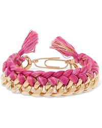Aurelie Bidermann - Do Brasil 18-karat Gold-plated And Braided Cotton Bracelet - Lyst
