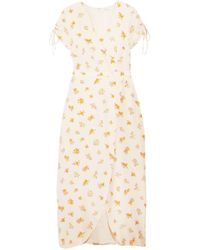 Madewell - Woman Wrap-effect Floral-print Silk Crepe De Chine Midi Dress Blush - Lyst