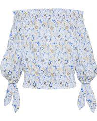 Caroline Constas - Woman Lou Off-the-shoulder Printed Cotton-blend Top Blue - Lyst