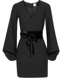Iris & Ink - Woman Clarice Belted Velvet-trimmed Crepe Mini Dress Black - Lyst