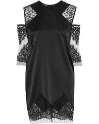 Michelle Mason Woman Cold-shoulder Lace-paneled Silk-blend Mini Dress Black Size 0 Michelle Mason qMlzu